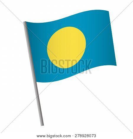 Palau flag icon. National flag of Palau on a pole  illustration. poster