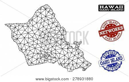 Black Mesh Vector Map Of Oahu Island Isolated On A White Background And Rubber Stamp Seals For Netwo