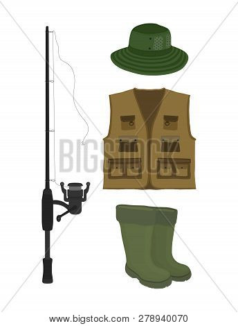 Vector Cartoon Collection For Fishing. Fish-rod, Rubber Waterproof Boots, Waders And Vest. Fisher, H