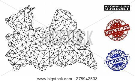 Black Mesh Vector Map Of Utrecht Province Isolated On A White Background And Scratched Watermarks Fo