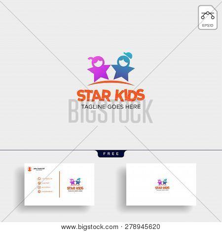 Star Kids Creative Idea Logo Template Vector Illustration With Business Card