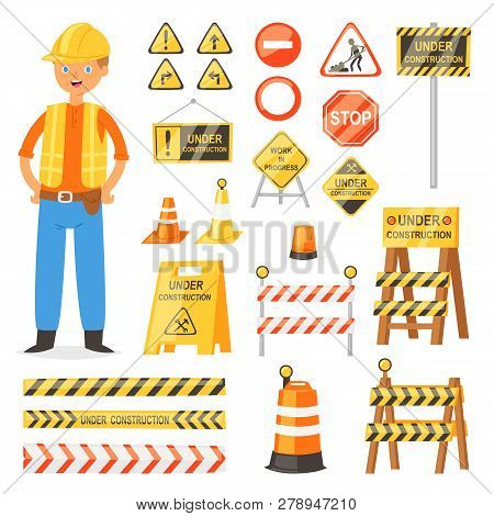 Road Sign Vector Traffic Street Warning And Barricade Blocks On Highway And Builder Character Illust