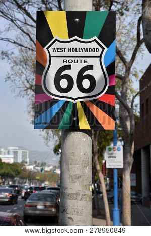 The Historic Route 66 Sign On Santa Monica Blvd In West Hollywood Has Been Decorated With The Gay Pr