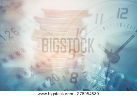 Double Exposure Of Coins And Bookbank With Clock And Credit Card, For Business And Finance Backgroun