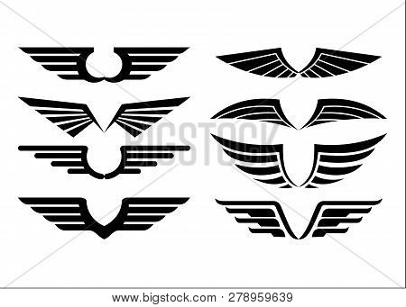 Set Of Wings Isolated Black On White Background.wing Logo Company, Icon Wing Flying, Eagle Wing Bran