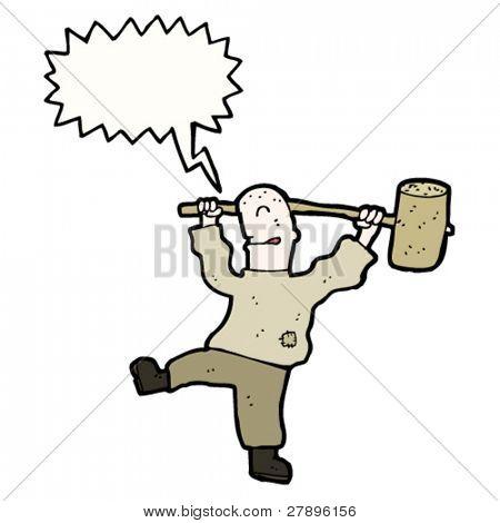 cartoon man with huge mallet