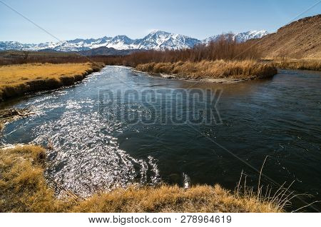 Owens River In Winter In Inyo County, California