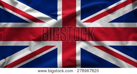 Wide Angle Banner Of The British Union Jack Flag Or Union Flag In A Textured Full Frame Background V