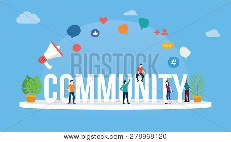 Community People Concept With Big Text And People Around With Modern Style And Icon - Vector Illustr