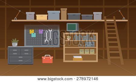 Basement Workshop Illustration. Garage Or Cellar Indoor Storehouse With Mechanic Equipment Set. Stoc