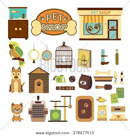 Pet Shop Decorative Icons. Set  Icons With Parrot, Dog And Cat And Goods For Pets. Vector Illustrati