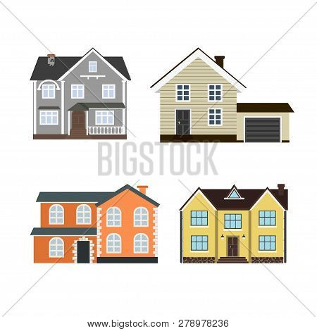Set Of Houses Front View In Flat Style Isolated On White Background. Collection Of Icons Of  Suburba