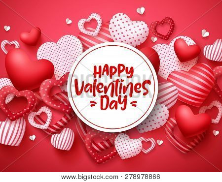 Valentines Day Vector Hearts Background Template. Happy Valentines Day Greeting Text In White Space