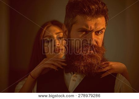 Its A Love Story. Couple In Love. Married Family Couple. Bearded Man And Sensual Woman With Fashion
