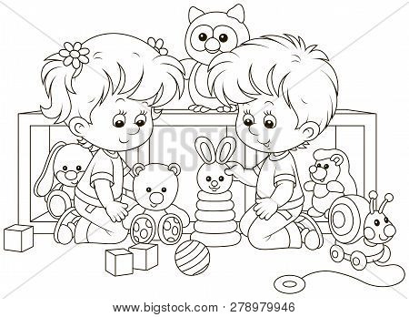 Small Children Playing With Toys In A Nursery, Black And White Vector Illustration In A Cartoon Styl