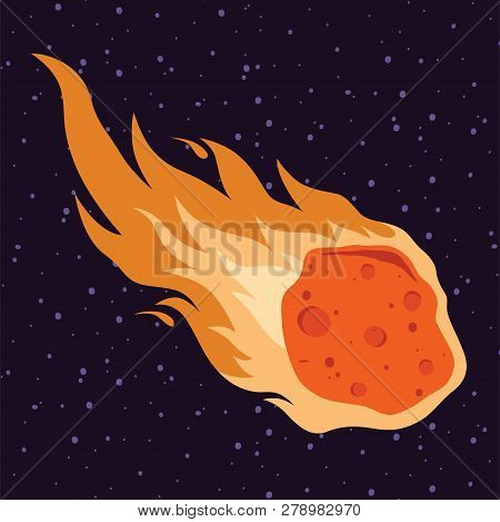 Flame Meteor, Asteroid,  Meteor Rain Fall  Vector Illustration In Cartoon Style.