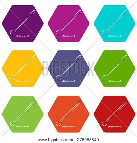 Stirring rodicons 9 set coloful isolated on white for web poster