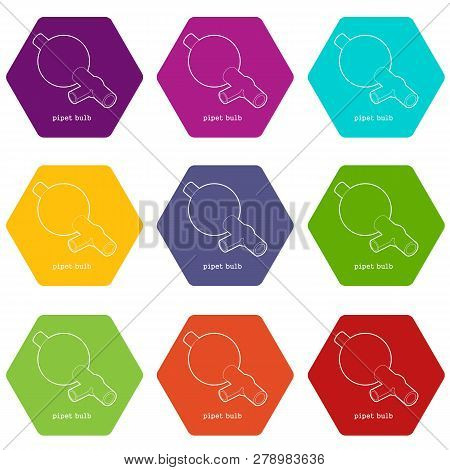 Pipet Bulb Icons 9 Set Coloful Isolated On White For Web