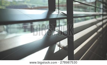 Evening Sun Light Outside Wooden Window Blinds, Sunshine And Shadow On Window Blind, Decorative Inte