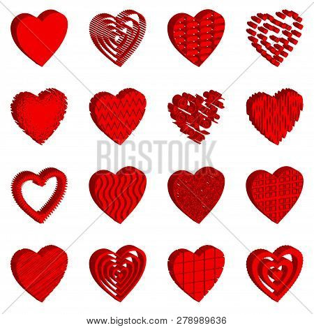 Set Of Valentine Hearts, Holiday Love Symbol Icons With Patterns. Vector