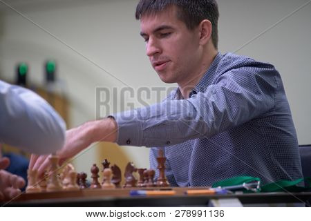 ST. PETERSBURG, RUSSIA - DECEMBER 28, 2018: Grandmaster Dmitry Andreikin, Russia competes in King Salman World Rapid Chess Championship 2018. Eventually he took 18th place