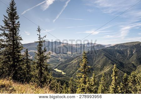 View To Highest Part Of Nizke Tatry Mountains With Dumbier And Chopok Mountain Peak From Slema Hill