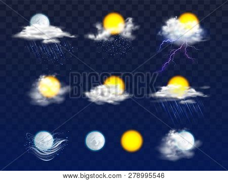 Sun And Moon Disks Clear And In Clouds With Rain And Snow Icons 3d Realistic Vector Set Isolated On
