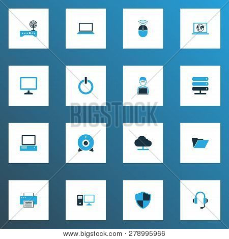 Computer Icons Colored Set With Server, Internet, Start Button And Other Computer Elements. Isolated