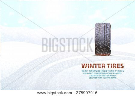Imprints Left On Ground By Transport Poster Vector. Snowing Weather And Rubber Item, Vehicle For Aut