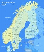 Detailed Scandinavia map | Vector political Scandinavia countries map poster