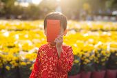 Portrait of a Asian boy on traditional festival costume. Cute little Vietnamese boy in ao dai dress smiling. Tet holiday. Lunar New Year Vietnam poster