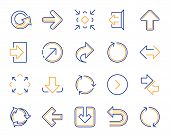 Share arrow icons. Set of Download, Synchronize and Recycle icons. Undo, Refresh and Login symbols. Sign out, download and Upload. Universal arrow elements, share, synchronize sign. Vector poster
