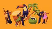 Brazilian Samba Carnival Dancer Latino Character. Bikini Woman Dance Tropical Cuban Salsa. Latin Man in Retro Costume have Fun at Happy Beach Cabaret Parade Flat Cartoon Vector Illustration poster