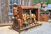 Derelict engine in Vintage mining machinery, Canada poster