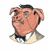 Drawing sketch style illustration of a noble aristocrat pig wearing a monocle and business suit with tie or tuxedo looking up on isolated white background. poster