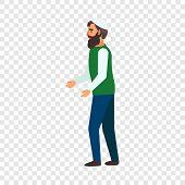 Refugee man hopeless icon. Flat illustration of refugee man hopeless icon for web design poster