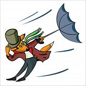 The fox with a umbrella carries away a wind poster