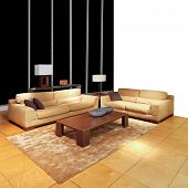 Modern brown living room with two sofas poster