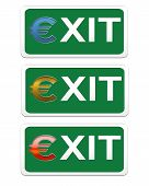 Three green signs an exit on a white background poster