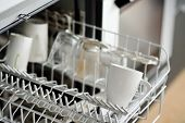 Open dishwasher with dirty crockery in the modern kitchen. Close-up. Domestic appliances for help and time saving in housework. poster