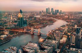 London View At Sunset. Panorama Include River Thames, Tower Bridge And City Of London And Canary Wha