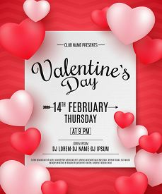 Valentine's Day Party Flyer. 3D Hearts On A Red Background With Pattern. Romantic Composition. Festi