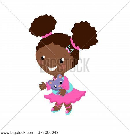Smiling African Girl In Pink Dress Vector Illustration On White Background. African American Toddler