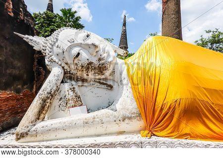 Reclining Buddha Of Wat Yai Chai Mongkol Is The Famous Architecture In Ayutthaya.