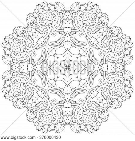 Hand Drawn Zentangle Circular Ornament For Coloring Page.