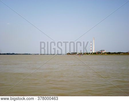 Riverside Industrial Estate. Ganges River Side Industries. Riverfront Industrious Area. Industrial G
