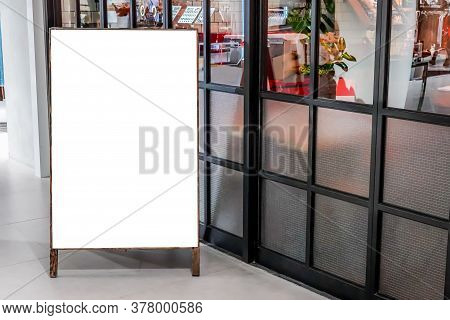 Blank Poster Display Mockup Template,empty Billboard Display In Front Of Restaurant.