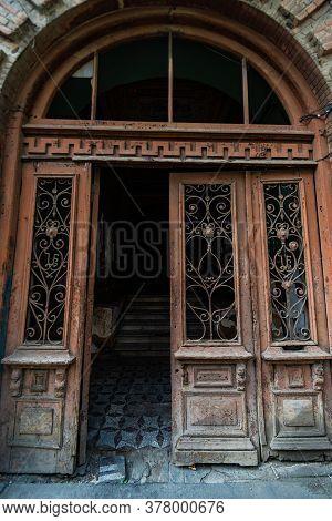 14 July 2020, Tbilisi, Georgia: Famous Doors Of Sololaki Area In Old Town Of Tbilisi, Georgia.