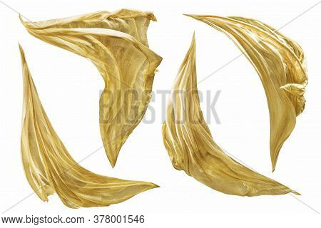Fabric Cloth Flying On Wind, Set Of Fluttering Gold Silk Pieces As Sails, Isolated On White Backgrou