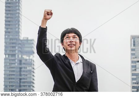 Business Man Success. Businessman Winner. Happy Win. Triumph, Victory Of Successful People, Person O